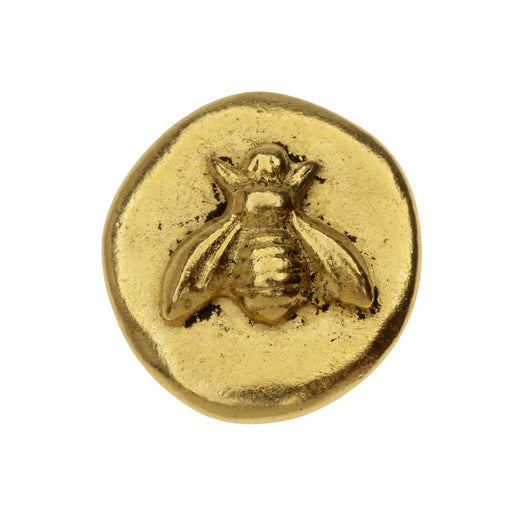 Nunn Design Button, Organic Round with Bee 18mm, 1 Piece, Antiqued Gold Plated
