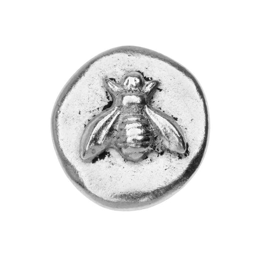 Nunn Design Button, Organic Round with Bee 18mm, 1 Piece, Antiqued Silver Plated