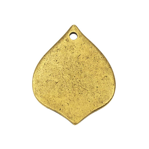 Nunn Design Flat Tag Pendant, Blank Marrakesh Drop 28mm, 1 Piece, Antiqued Gold Plated