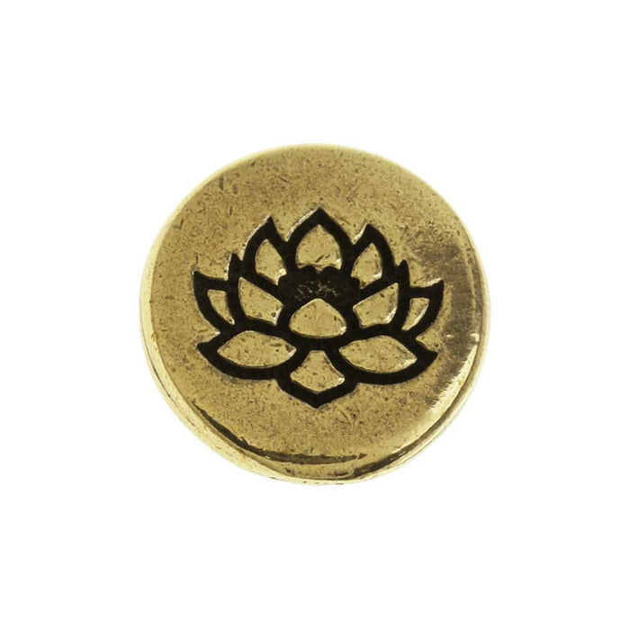 TierraCast Pewter Button, Round Lotus Flower Design 12mm Diameter, 1 Piece, Brass Oxide