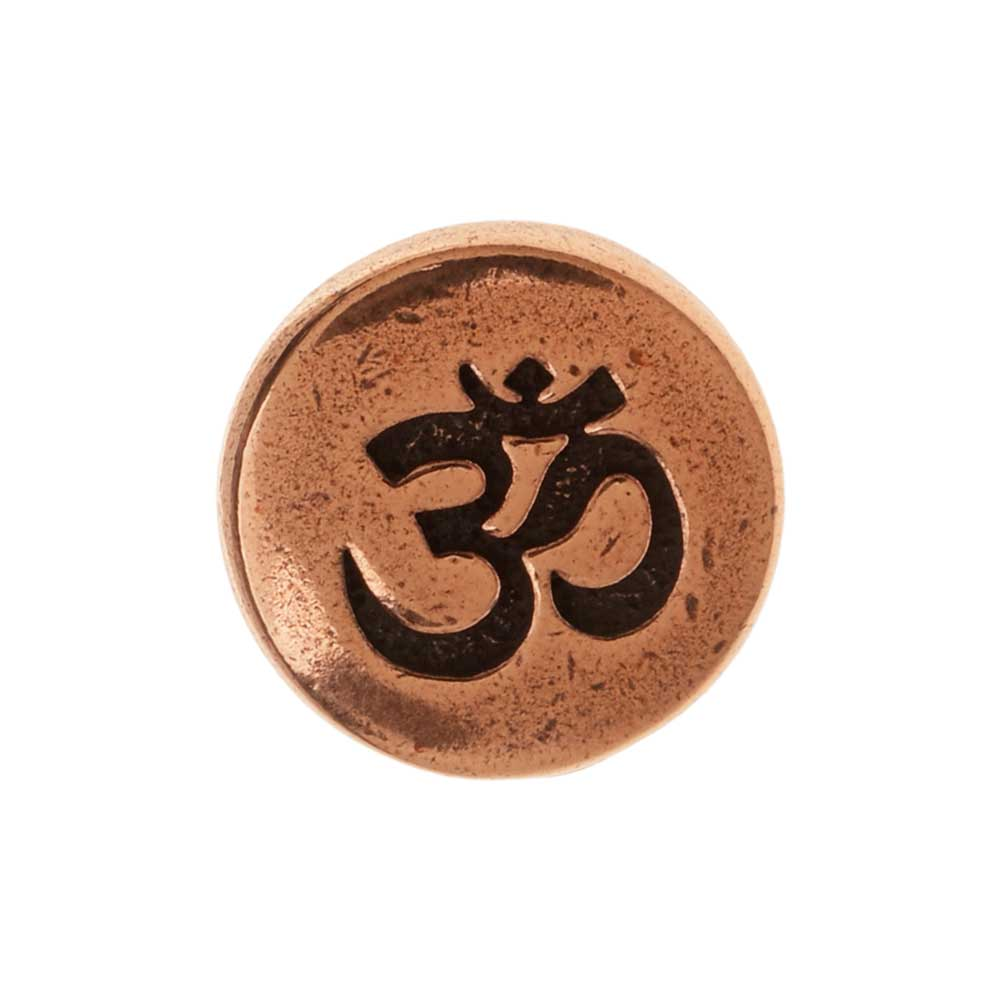 TierraCast Pewter Button, Round Om / Aum Symbol 12mm Diameter, 1 Piece, Antiqued Copper Plated