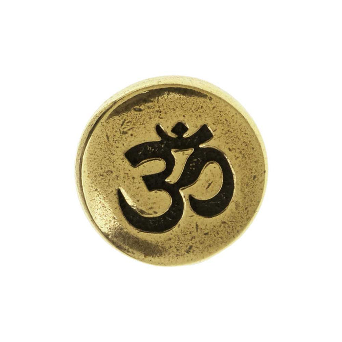 TierraCast Pewter Button, Round Om / Aum Symbol 12mm Diameter, 1 Piece, Brass Oxide