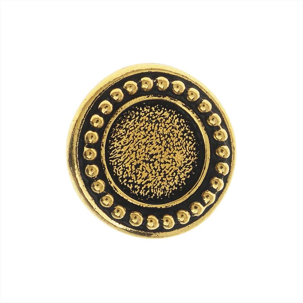 TierraCast Pewter Button, Round Beaded Bezel Design 12mm Diameter, 1 Piece, Antiqued Gold Plated