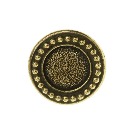 TierraCast Pewter Button, Round Beaded Bezel Design 12mm Diameter, 1 Piece, Brass Oxide