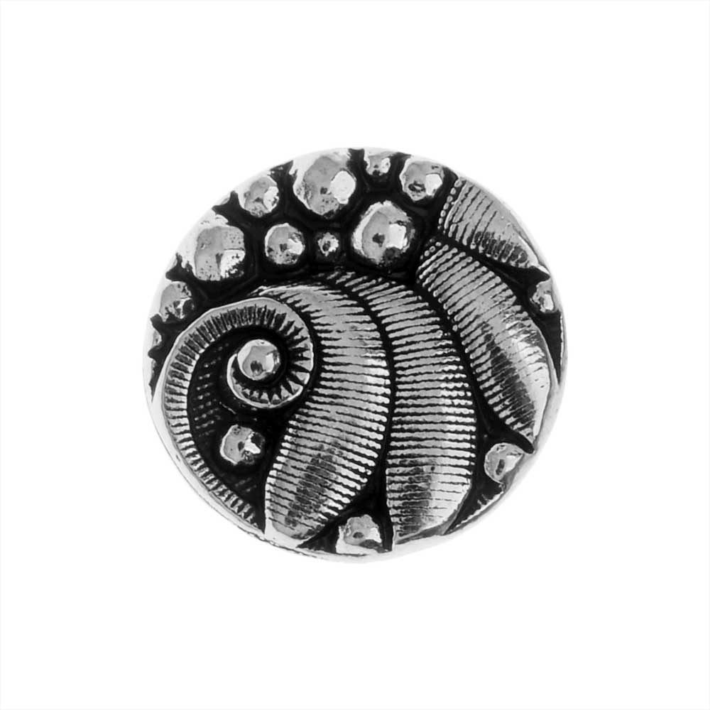TierraCast Pewter Button, Round Czech Design, 12mm Diameter, 1 Piece, Antiqued Silver Plated
