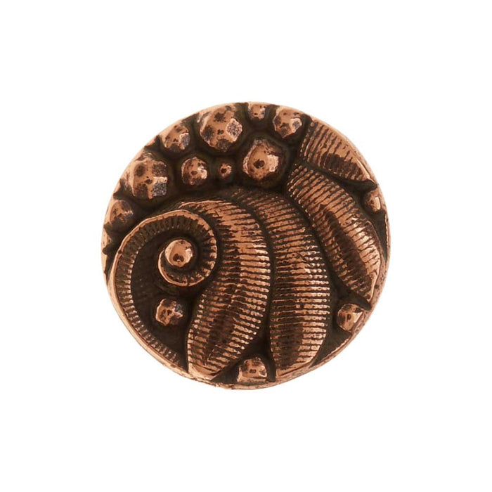 TierraCast Pewter Button, Round Czech Design, 12mm Diameter, 1 Piece, Antiqued Copper Plated