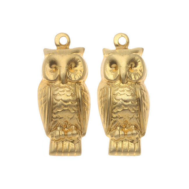 Nunn Design Stamping Charms, 9.5x22mm Sitting Owls, 2 Pieces, Brass