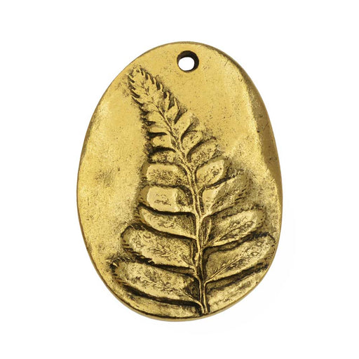 Charm, Organic Oval with Fern Design 31.5mm, Antiqued Gold, 1 Piece, by Nunn Design