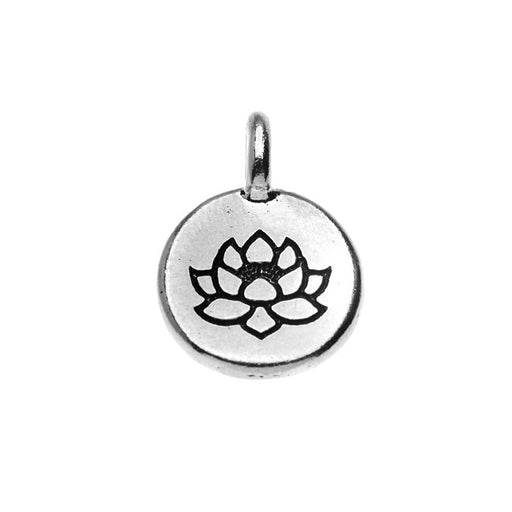 TierraCast Pewter, Round Lotus Flower Charm 16.5x11.5mm, 1 Piece, Antiqued Silver Plated