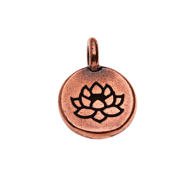 TierraCast Pewter, Round Lotus Flower Charm 16.5x11.5mm, 1 Piece, Antiqued Copper Plated