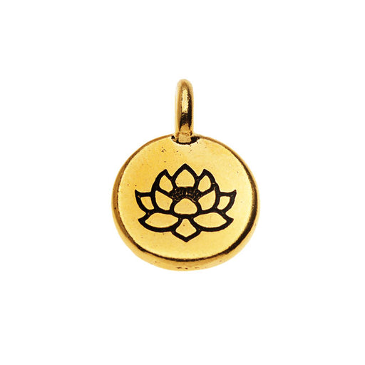 TierraCast Pewter, Round Lotus Flower Charm 16.5x11.5mm, 1 Piece, 22K Gold Plated