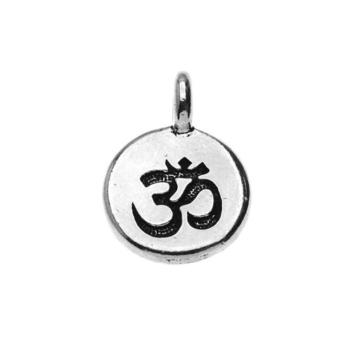 TierraCast Pewter Charm, Round Om / Aum Symbol 16.5x11.5mm, 1 Piece, Antiqued Silver Plated