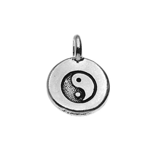 TierraCast Pewter Charm, Round Yin Yang Symbol 16.5x11.5mm, 1 Piece, Antiqued Silver Plated