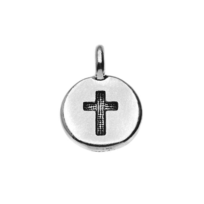 TierraCast Pewter Charm, Round Cross Symbol 16.5x11.5mm, 1 Piece, Antiqued Silver Plated