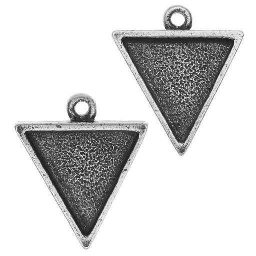 Nunn Design Bezel Charm, Triangle 15.5x18.5mm, 2 Pieces, Antiqued Silver