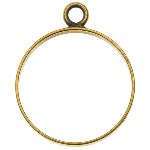 Nunn Design Open Frame Pendant, Circle 25x30.5mm, 1 Piece, Antiqued Gold