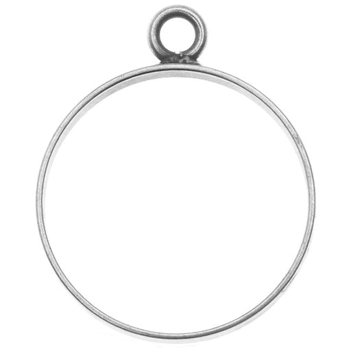 Nunn Design Open Frame Pendant, Circle 25x30.5mm, 1 Piece, Antiqued Silver