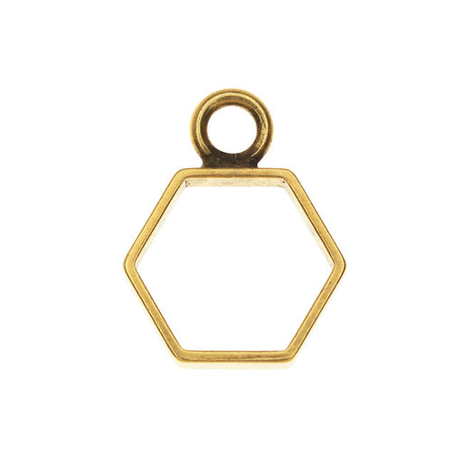 Nunn Design Open Frame Pendant, Square 14.5x18mm, 1 Piece, Antiqued Gold