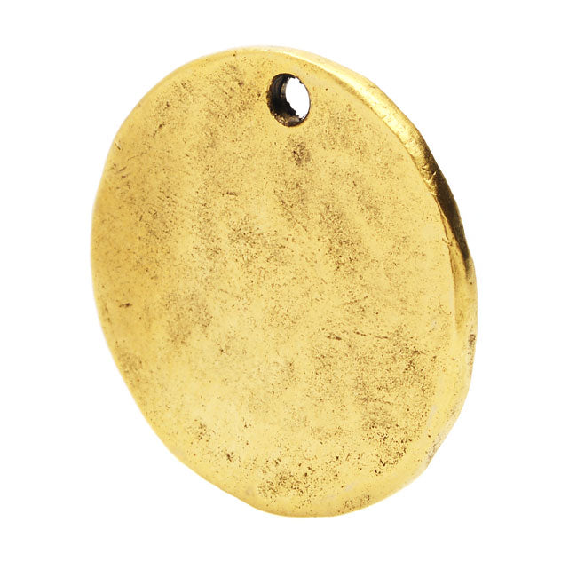 Nunn Design Flat Tag, Hammered Circle 20.5mm, 1 Piece, Antiqued Gold