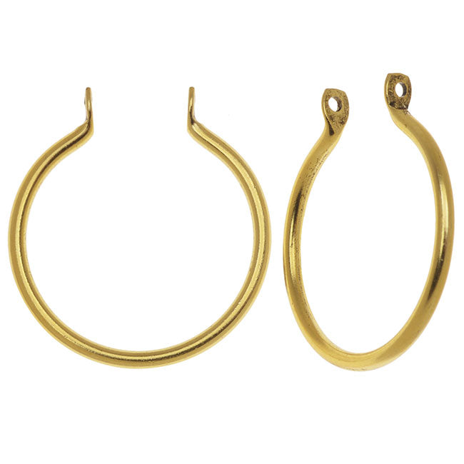 Nunn Design Open Frame Pendant, Round Hoop 25x23mm, 2 Pieces, Gold Plated