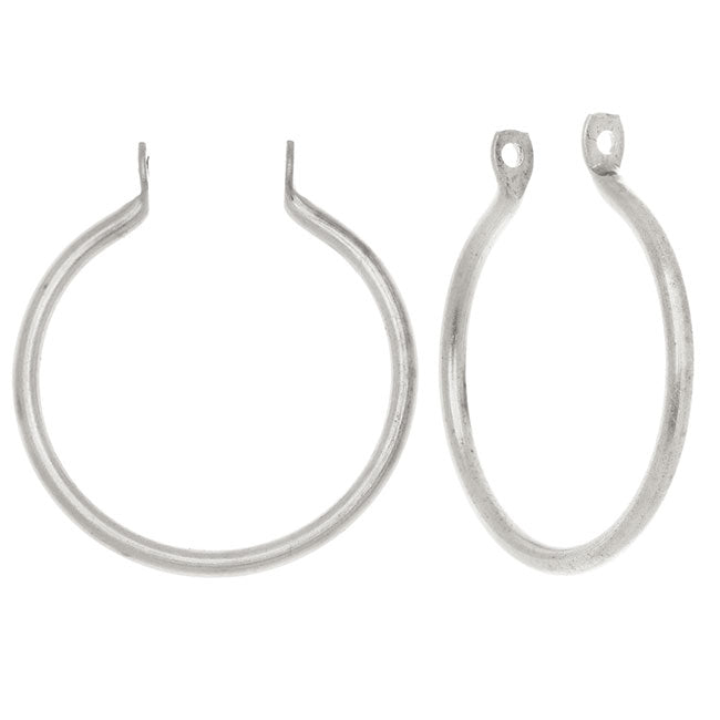 Nunn Design Open Frame Pendant, Round Hoop 25x23mm, 2 Pieces, Antiqued Silver Plated