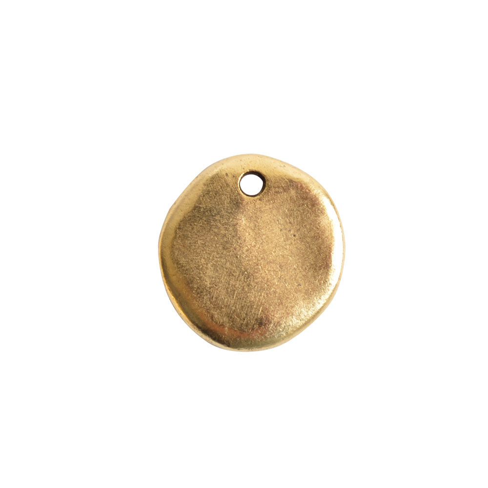 Nunn Design Primitive Tag Pendant, Small Circle 17.5x18.5mm, 1 Piece, Antiqued Gold