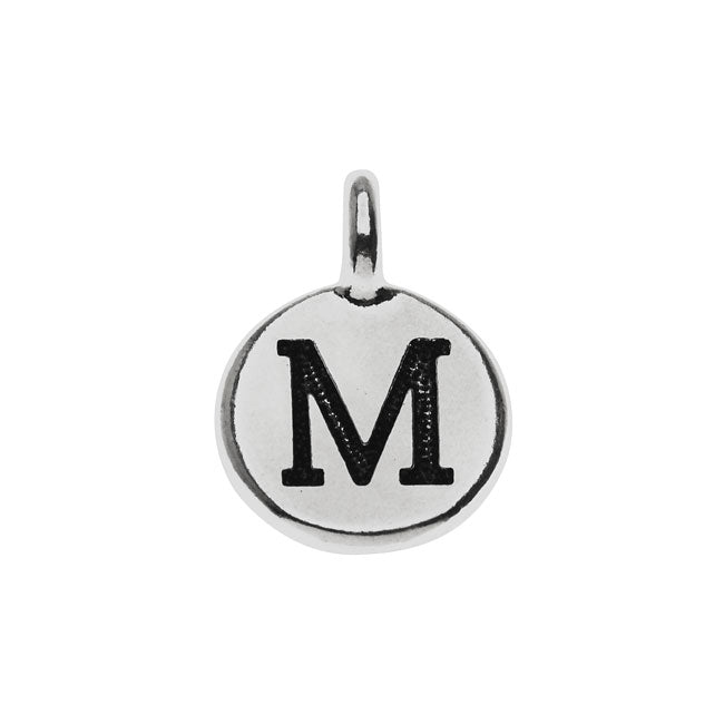 TierraCast Alphabet Charm, Uppercase Letter 'M' 16.5x11.5mm, 1 Piece, Antiqued Silver Plated