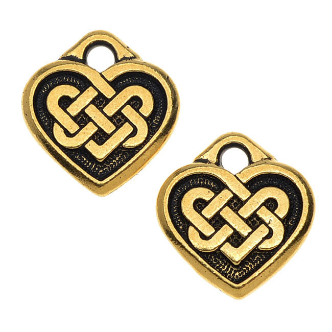 TierraCast Celtic Collection, 'Tracys' Celtic Heart Charm 13x14mm, 2 Pieces, Antiqued Gold