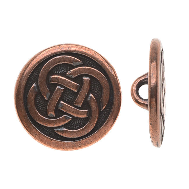 TierraCast Celtic Collection, Celtic Knot Button 16mm, 1 Piece, Antiqued Copper