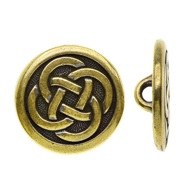 TierraCast Celtic Collection, Celtic Knot Button 16mm, 1 Piece, Antiqued Gold