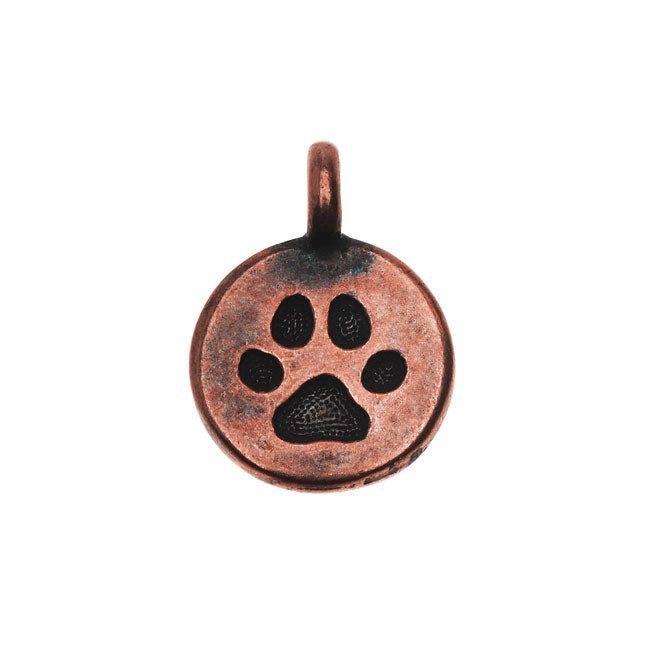 TierraCast Pewter Charm, Round Paw Print 16.5x11.5mm, 1 Piece, Antiqued Copper Plated