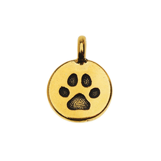 TierraCast Pewter Charm, Round Paw Print 16.5x11.5mm, 1 Piece, Antiqued Gold Plated