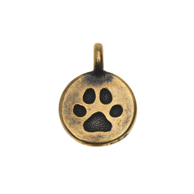 TierraCast Pewter Charm, Round Paw Print 16.5x11.5mm, 1 Piece, Brass Oxide Finish