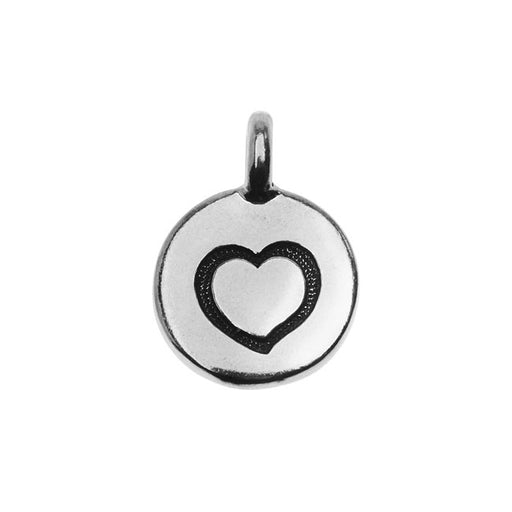 TierraCast Pewter Charm, Round Stamped Heart 16.5x11.5mm, 1 Piece, Antiqued Silver Plated