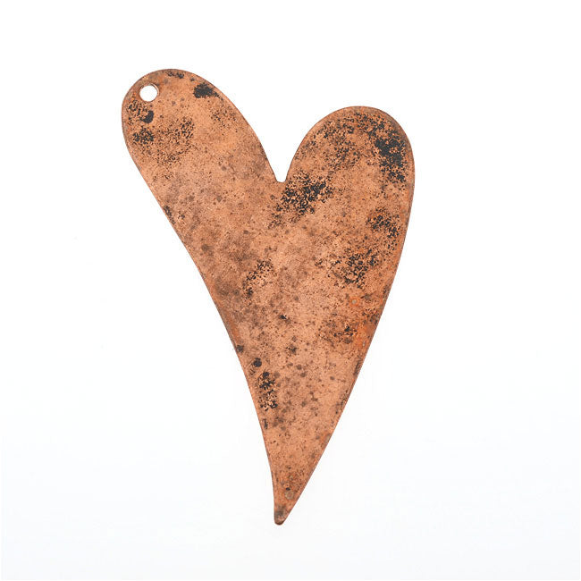Vintaj Artisan Copper, Artisan Heart Pendant Blank 24 Gauge Thick 40x25mm, 1 Piece
