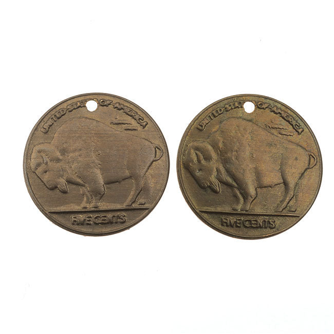 Vintaj Natural Brass, Buffalo Nickel Bison  Charms 24 Gauge 13mm, 2 Pieces