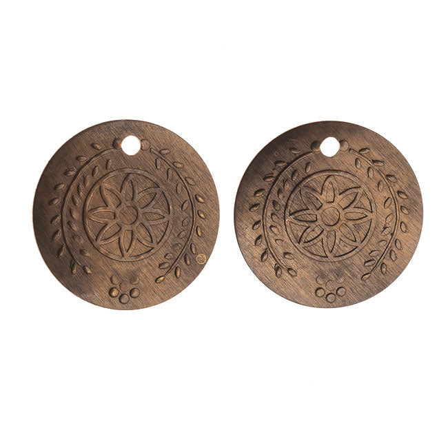 Vintaj Natural Brass, Botanical Coin Stamping Charms 23 Gauge 12.5mm, 2 Pieces