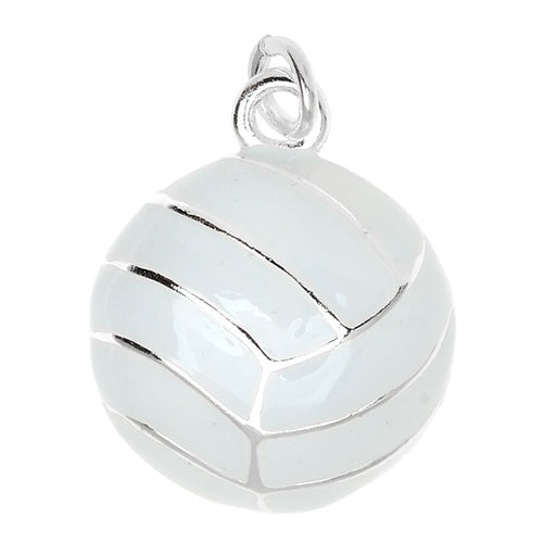 Silver Plated and Enameled Charm, Volleyball 17.3x14x5mm, 1 Piece, White