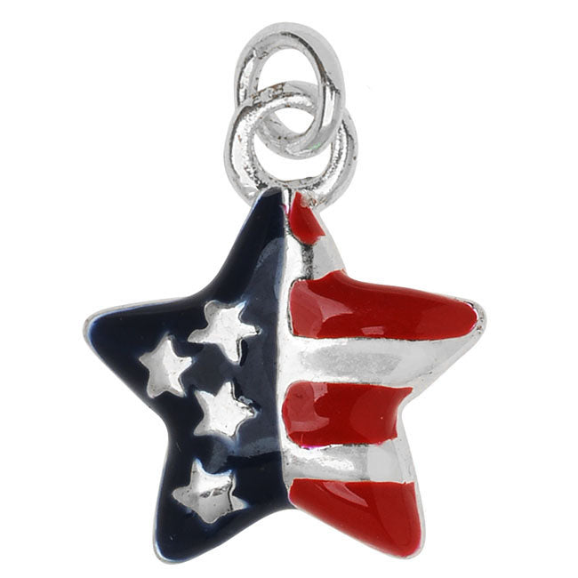 Silver Plated and Enameled Charm, USA Star Flag 15x13x2.3mm, 1 Piece, Red/Blue