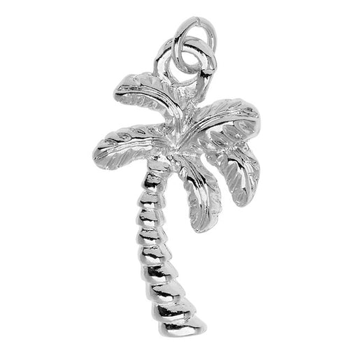 Silver Plated Charm, Palm Tree 20.7x11.3x3.4mm, 1 Piece, Silver
