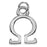 Silver Plated Lightweight Charm, Small Greek Letter Omega 11.8x8.5x1.5mm, 1 Piece, Silver