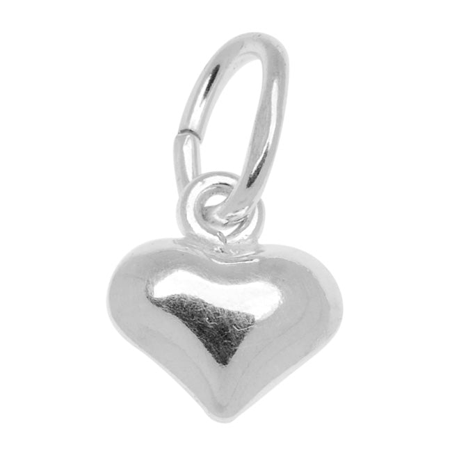 Sterling Silver Charm Sleek Puff Heart 5.5mm