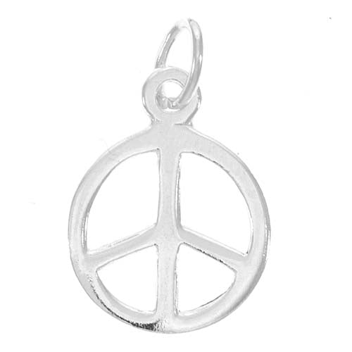 Sterling Silver Charm Sleek Peace Sign 10mm