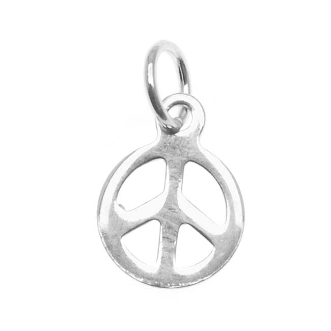 Sterling Silver Charm Tiny Sleek Peace Sign 8mm
