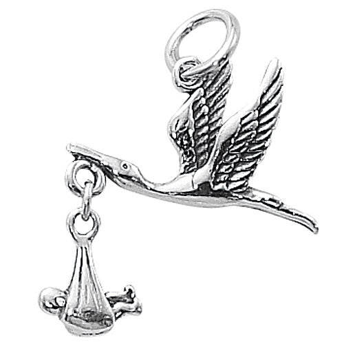 Sterling Silver Movable Charm Little Baby Carried By Flying Stork 24mm
