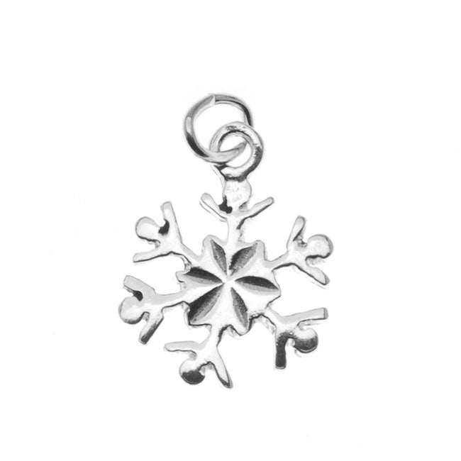 Sterling Silver Delicate Snowflake Charm Christmas Winter 13.5mm