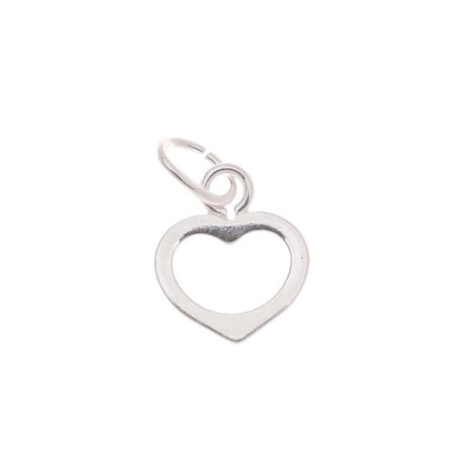 Sterling Silver Charm Small Sleek Open Heart 7mm - 1 Charm