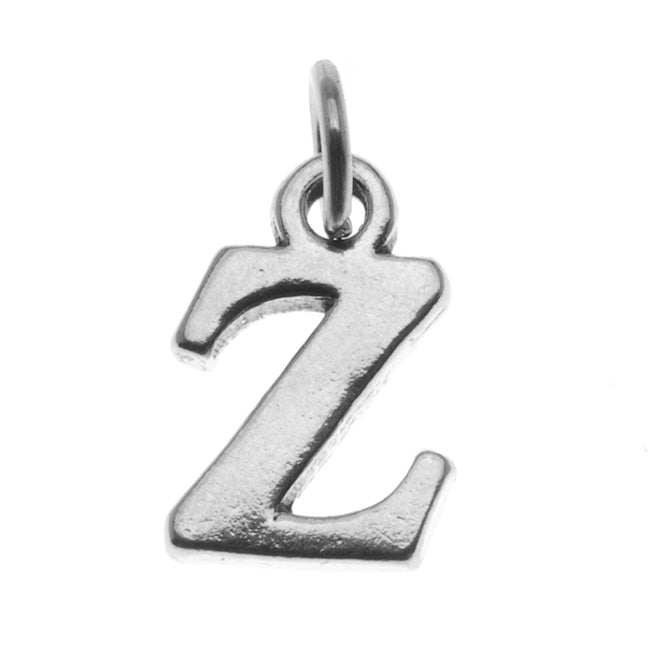 Sterling Silver Alphabet Charm, Initial Letter 'Z' 15mm, 1 Piece, Silver