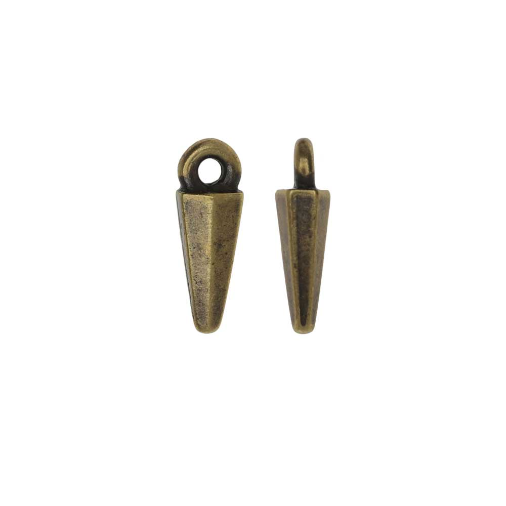 TierraCast Pewter Charms, Dagger Drop Design 13.5x4.5mm, 2 Pieces, Brass Oxide Finish