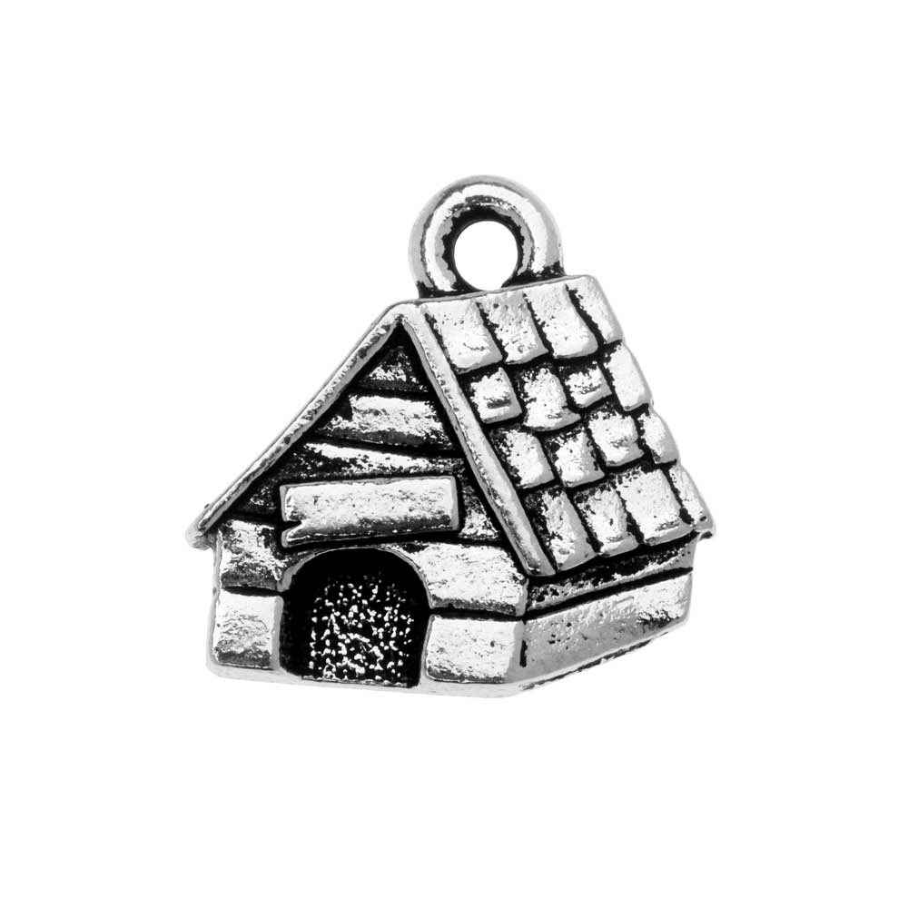 Pewter Charm, Dog House 15x15.5mm, 1 Piece, Antiqued Silver, By TierraCast